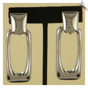 Clip On Earrings- Modern-Silver