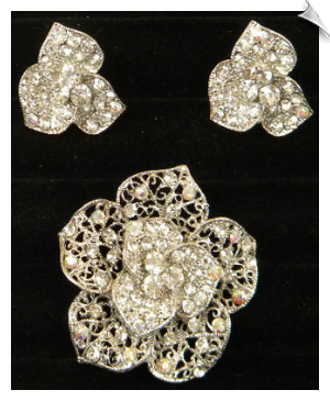Brooch & Clip On Earring Set