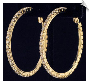 Clip On Earrings - Rhinestone Hoops