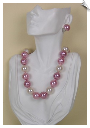 Faux Pearl Fashion Necklace and Clip Earrings
