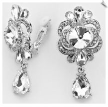 Clip Earrings - Rhinestone Glamour (SKU: SOL5596)