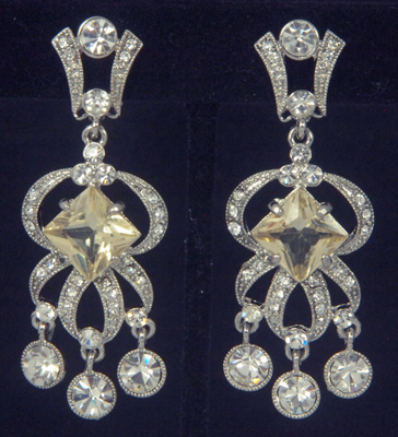 Vintage style silvertone chandelier clip on earrings accented with clip earrings chandelier aloadofball Image collections